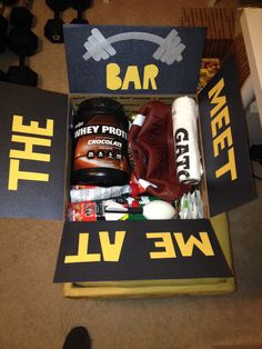 "Gym Themed Care Package- filled with whey protein powder, Gatorade packets, sweat towel, ""power/energy"" jelly beans, Muscle Milk, deflated football (include a small pump and needle), flag football set/kit, jump rope, resistance training grips, small NERF football and power bars!"