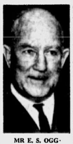Mr. Ernest Samuel Ogg, Gov't. Analyst for NSW, supervised testing for presence of poisonous substances in organs of Bogle and Chandler.   Sydney Morning Herald, May 22, 1963