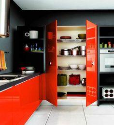 cuisine moderne rouge gris