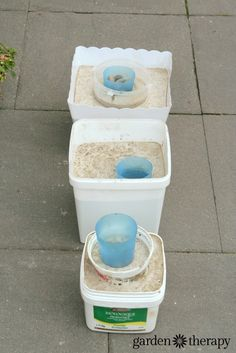 How to make concrete garden planters using recycled plastic containers