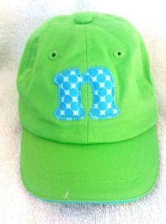 b73f6009c27 New Mud Pie Green Blue n Initial Polka Dot Cotton Blend Ball Cap Hat 0-