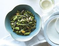 Asparagus with Miso Lemon Dressing and Marcona Almonds from Terry Walters' website.  She is the author of Clean Food and Clean Start, two of my favorite cookbooks.