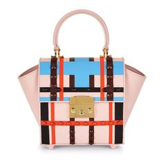 Mayra Fedane Mini Mia Lego Studded Bag ($983) ❤ liked on Polyvore featuring bags, handbags, shoulder bags, bolsas, pink multi, leather man bag, pink leather purse, mini shoulder bag, pink purse and pink shoulder bag