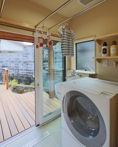Image may contain: indoor Laundry Room Bathroom, Washroom, Dream Home Design, House Design, Sister Home, Wash Stand, Japanese House, Home Fashion, Washing Machine