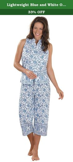 Lightweight Blue and White Oriental Floral Print Sleeveless Pajamas for Women, Medium (8-10). Inspired by the elegant floral patterns found on the finest China; this cool, comfortable collection is both peaceful and beautiful. Sleeveless top with a Mandarin-style collar & buttons with frog closures. Capri-length pants. Imported. 100% Woven cotton. Gift packaging is not included.