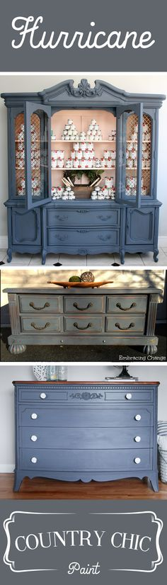 Stop by our blog to see some of our favorite examples of this beautiful cool grey, Hurricane! http://blog.countrychicpaint.com/2015/02/09/color-inspiration-mondays-hurricane/  #countrychicpaint