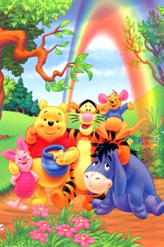 Winnie the Pooh and friends with a rainbow #winniethepooh pooh eeyore tigger piglet roo rainbow