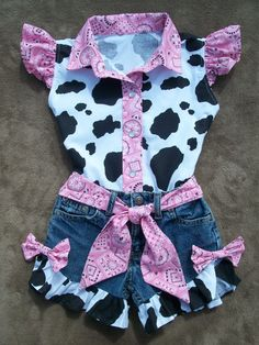Shorts and Blouse Beautiful PINK  BANDANA upcycled cowgirl  shorts outfit with custom made matching blouse. size 1T-5T