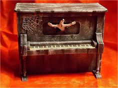 Dollhouse Haunted Piano - Doll House Halloween Piano - Miniature Spooky Piano - 1/12th Scale