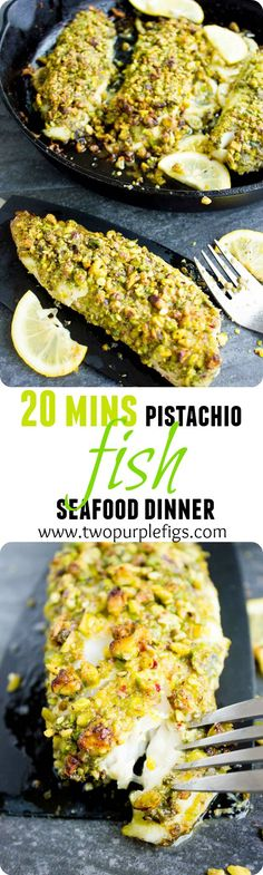 Pesto Pistachio Fish Fillet. A 5 star seafood plate on your table in just 20 MINS! Crunchy and succulent fish flavored with basil pesto and baked till perfection. An all time Crowd PLEASER! http://www.twopurplefigs.com