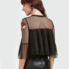 SheIn Summer Tops Black Embroidered Sheer Shoulder Layered Dotted Mesh Top Three Quarter Length Sleeve Vintage Blouse