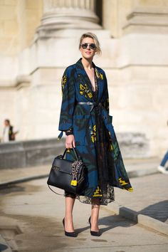Blue long dress, black bag and heels. Street spring women fashion outfit clothing style apparel @roressclothes closet ideas