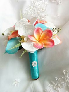 Wedding Coral Orange and Aqua Turquoise Teal by tmfloraldesigns