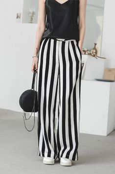 Fabric: Fabric has no stretchSeason: SummerType: PantsColor: BlackPants Length: LongStyle: CasualMaterial: PolyesterSilhouette: Pants Free Size: Bohemian Chic Fashion, Hipster Fashion, Women's Fashion, Boho Chic, Linen Trousers, Pants For Women, Clothes For Women, Long Pants, Casual Chic