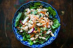 Asian Tuna Salad ~ Asian inspired tuna salad with canned tuna, radishes, cilantro, shredded carrot, ginger, rice vinegar and sesame oil.  ~ SimplyRecipes.com