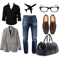 "Red Velvet Voyage Fashion Inspiration to Travel Comfortably to arrive to most destinations. Airline, Train, Bus, Boat, Car however you get there be comfortably chic!  ""Men - Travel Style"" by imagerefresh on Polyvore"