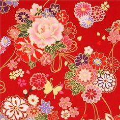 red Asia flower bouquet fabric butterfly gold Kokka 1