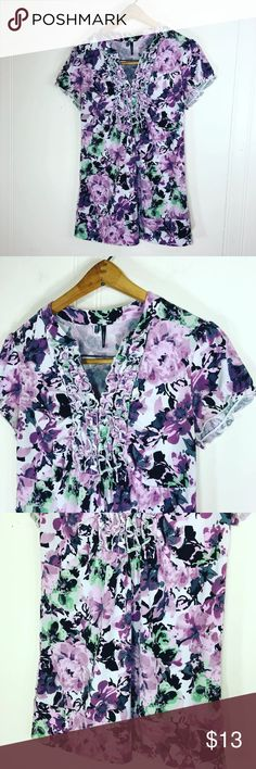 "Maurices Floral Ruffle Blouse Very good used condition  Women's medium Measurements Doubled  Bust:34"" Length: 26"" Fabric is stretchy Maurices Tops Blouses"
