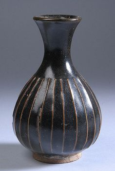 Song Dynasty Black Glazed Porcelain Bottle Vase - M. Ford Creech Antiques