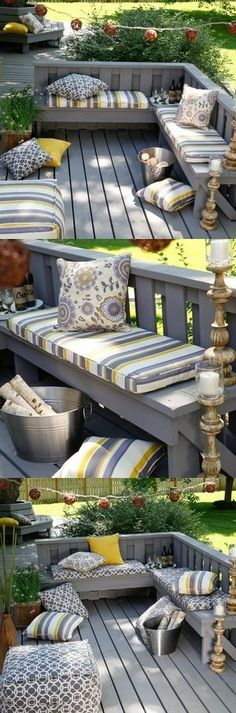 Loving these built-in seating options. If your deck is smaller in size, save space with built-in seating but go ahead and jazz it up with colorful cushions, string lights or candles. Garden Seating, Outdoor Seating, Outdoor Rooms, Outdoor Living, Deck Seating, Seating Areas, Backyard Seating, Floor Seating, Indoor Outdoor