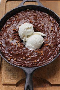 Gooey Chocolate Skillet Cake Ice Cream Sundae