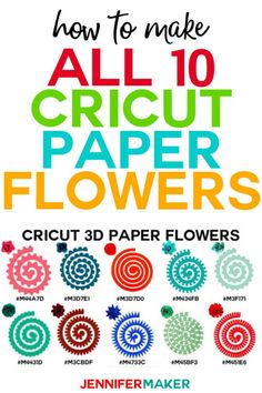 Learn how to make all ten Cricut paper flowers in Cricut Design Space using the Flower Shoppe Cartridge included in Cricut Access -- I show you everything from picking the paper, choosing the right tool and glue, and the assembly itself! 3d Paper Flowers, Rolled Paper Flowers, Paper Flower Patterns, How To Make Paper Flowers, Paper Flower Wall, Paper Flower Tutorial, Neli Quilling, Flower Shadow Box, Cricut Craft Room