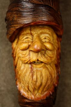 Wood carving wood spirit Elf Wizard tree by TreeWizWoodCarvings