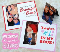 Instagram Magnetic Bookmark Valentines from Happy Go Lucky via Tatertots & Jello.
