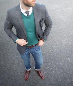 "Phil Cohen on Instagram: ""Dreams don't work unless you do — John C. Maxwell Blazer/Sweater/Tie: @bananarepublic Shirt: @jcrew ludlow Denim: Wallace & Barnes #jcrewdenim Pocket Square/Socks: @thetiebar Belt: @tannergoods dress belt Shoes: Alden Chukka @needsupply"""