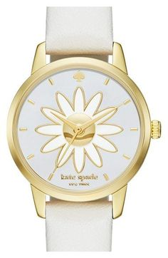 kate spade new york 'metro - flower' leather strap watch, 26mm