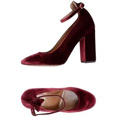 Bianca Di Pump (4,725 MXN) ❤ liked on Polyvore featuring shoes, pumps, maroon, ankle wrap pumps, velvet pumps, ankle tie pumps, rubber sole shoes and round toe shoes