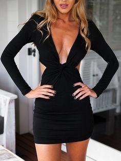 Black Plunge Twist Cut Out Waist Long Sleeve Bodycon Dress