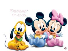 baby Minnie and Mickey Mouse and puppy Pluto <3