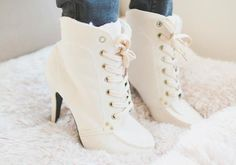 white high heel boots, they are really cute White High Heel Boots, Flat Boots, White Shoes, High Heels, Ankle Heels, Shoes Heels, Flats, Winter Wedding Boots, Korean Image