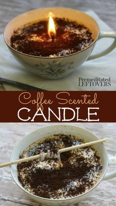 Give these DIY Coffee Scented Candles as holiday gifts to any coffee lover or use them to scent your home! The tutorial uses soy wax flakes and real coffee grounds. You can also use an old China coffee cup picked up at a thrift store to make this a frugal Diy Candles Scented, Homemade Candles, How To Make Scented Candles At Home, Diy Candles To Sell, Jar Candles, Homemade Coffee Candle, Diy Candels, Teacup Candles, Beeswax Candles