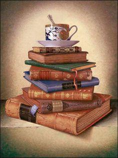 old books and tea
