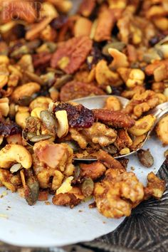 Curry Roasted Trail Mix {Beard and Bonnet} This trail mix is easy to make, fast to cook, completely portable and perfect for fall snacking! Just try to not eat it all in one sitting!