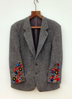Harris Tweed Jacket Hand Embroidered : Hand Embroidered Harris Tweed Jacket by didyoumakeityourself Textiles, Harris Tweed Jacket, Tweed Coat, Wool Coat, Visible Mending, Moda Vintage, Etsy Vintage, Creation Couture, Refashion