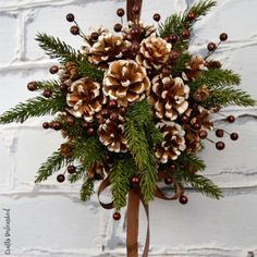 DIY Kissing Ball with Pine Cones - Crafts Unleashed Diy diy pine cone crafts Pine Cone Christmas Decorations, Pine Cone Christmas Tree, Rustic Christmas, Handmade Christmas, Christmas Crafts, Holiday Decor, Vintage Christmas, Primitive Christmas, Christmas Christmas