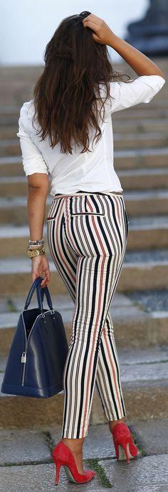 White Multi Stripe Skinny Trousers
