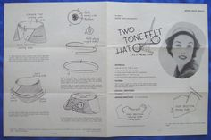 vintage Good Housekeeping TWO TONE FELT HAT millinery accessory sewing pattern | eBay