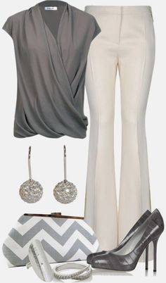 Chic Professional Woman Work Outfit. Gorgeous Classic Chic Outfit for Work