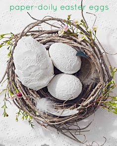 Crafted from inexpensive paper doilies, these eyelet-inspired Easter eggs are an elegant alternative to the usual bright colorful ones.