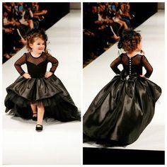 2015 Cute Black Ruffles Wedding Birthday Flower Girls' Dresses Sweep Train Custom Made Sheer Tulle Long Sleeves Party Girls' Pageant Gowns from Cc_bridal,$130.48 | DHgate.com