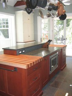 Maple w/ Mahogany Wood Countertop in Philadelphia, PA. Also note placement and number of electric outlets.