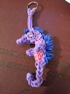 Rainbow Loom Hand Made Seahorse Keychain by kreativekraftz on Etsy, $7.00