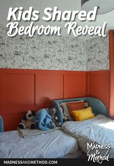 Transforming a plain white bedroom into a bright & colourful space. Check out the photos & details of the shared kids' red bedroom reveal! Kids Bedroom, Bedroom Decor, Paint Themes, Guest Bedrooms, White Bedroom, Outdoor Projects, Girl Room, House Design, Bright