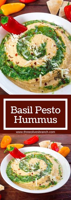 This hummus is a fun twist on the traditional dip. Great as an appetizer, snack, or even a spread! Fast and easy to make. A healthy option that is packed full of protein. Vegetarian. | Basil Pesto Hummus | www.threeolivesbranch.com | Three Olives Branch #vegan #protein #pesto #healthy