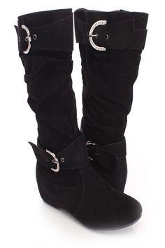9f63379060dc Black Rhinestone Buckle Boots Faux Suede