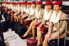 One set of Emirates A380 crew waiting to work their flight home to Dubai from JFK.